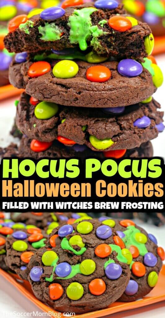 "Magical Halloween Cookies are filled with a delicious green ""witches brew"" frosting! Inspired by one of our favorite classic Halloween movies: Hocus Pocus!"