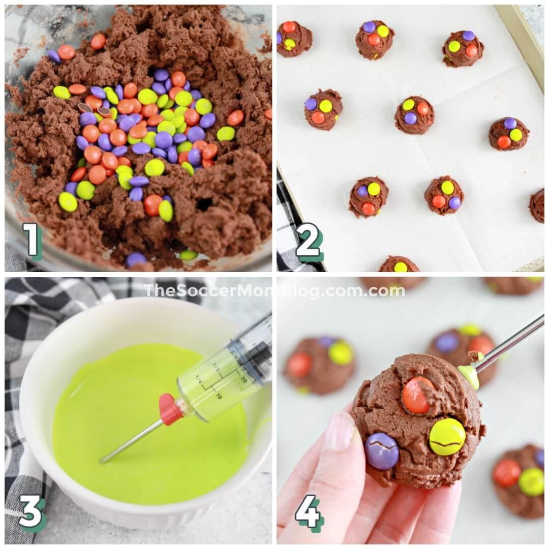 collage paso a paso que muestra cómo hacer galletas de Halloween llenas de limo