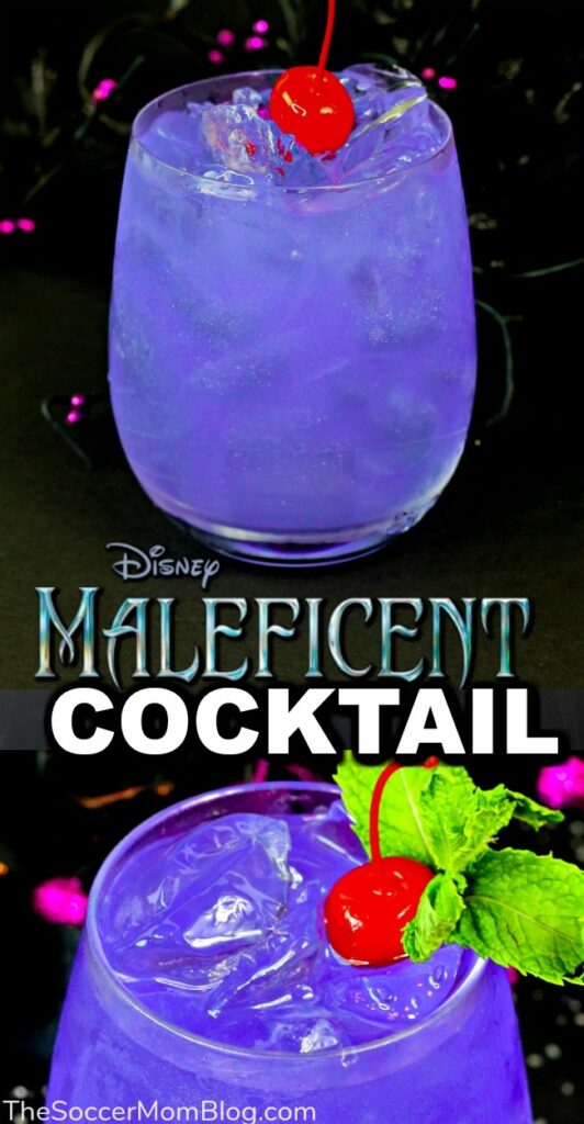 You don't have to be a vengeful fairy to enjoy this beautiful shimmering Maleficent Halloween Cocktail recipe!