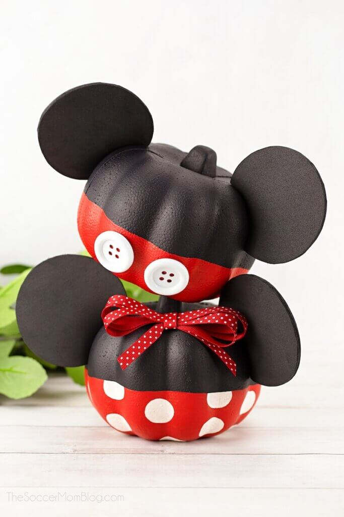 Mickey Mouse pumpkin and Minnie Mouse pumpkin craft for Halloween