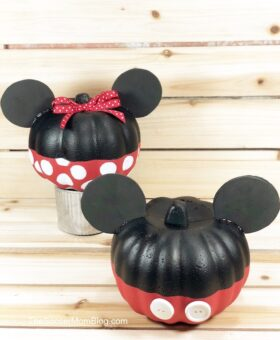 Minnie & Mickey Mouse Pumpkin – Dollar Store Halloween Craft