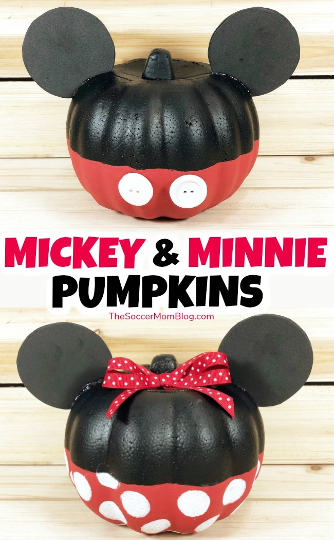 How to transform a dollar store orange foam pumpkin into an adorable Minnie or Mickey Mouse Pumpkin! Simple Disney pumpkin ideas for Halloween that are a must for Disney fans!