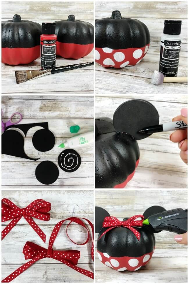 photo collage showing how to make a Minnie Mouse pumpkin