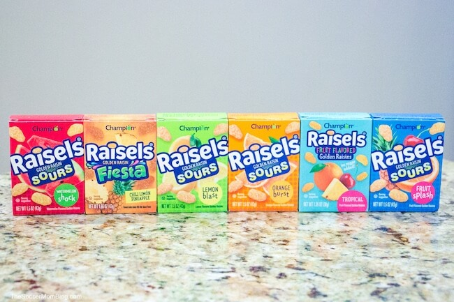 6 different flavors of Raisels