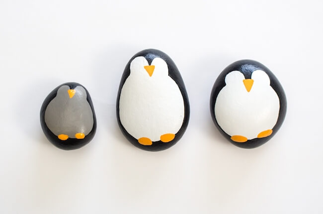penguin painted rocks