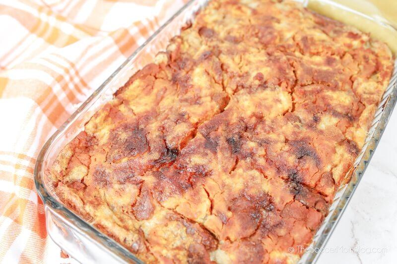 pumpkin spice bread pudding in pan