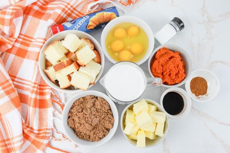ingredients to make pumpkin bread pudding