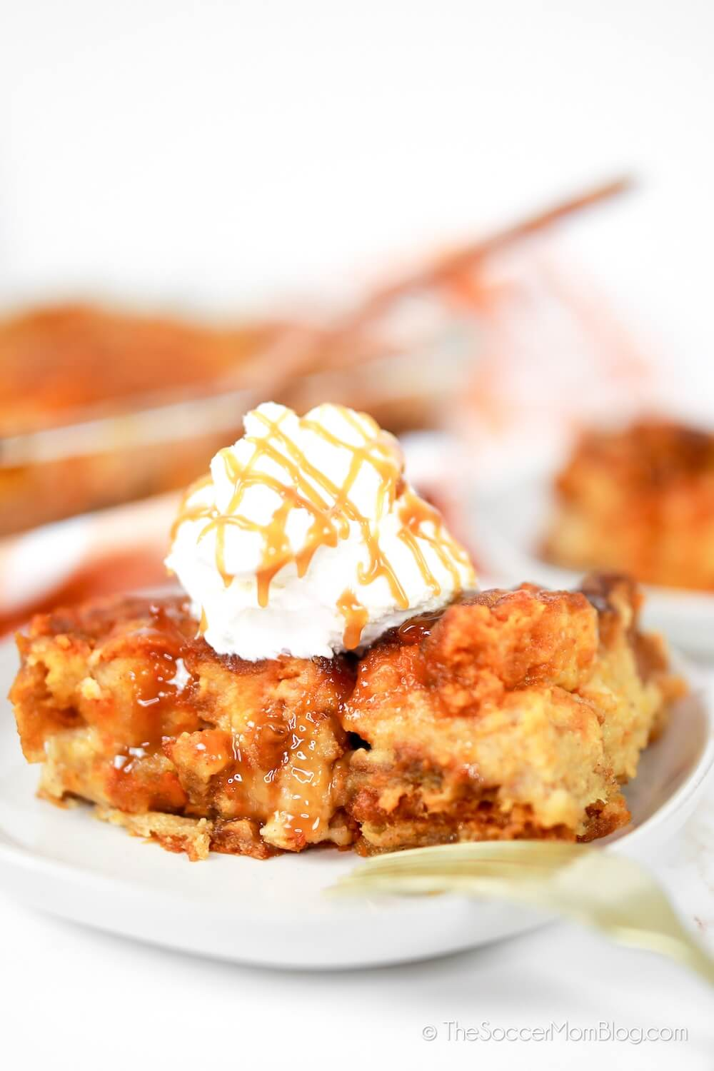 pumpkin bread pudding with ice cream and caramel
