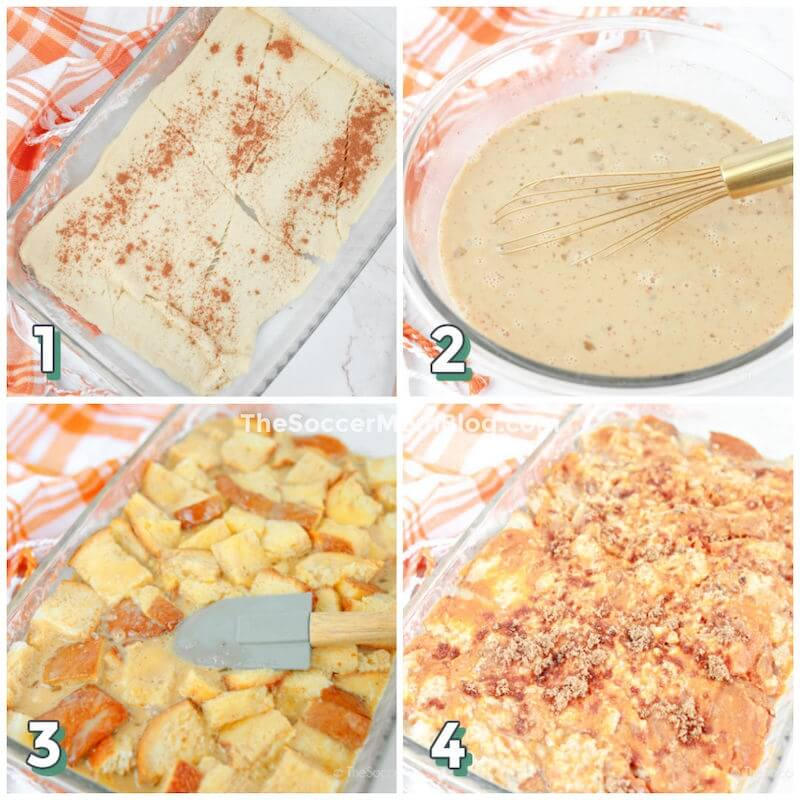 step by step photo collage showing how to bake pumpkin bread pudding