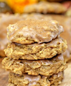 Pumpkin Oatmeal Cookies with Cinnamon Sugar Icing