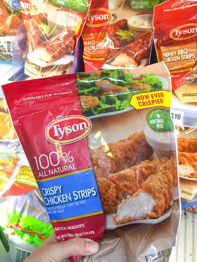 Tyson crispy chicken strips in the bag