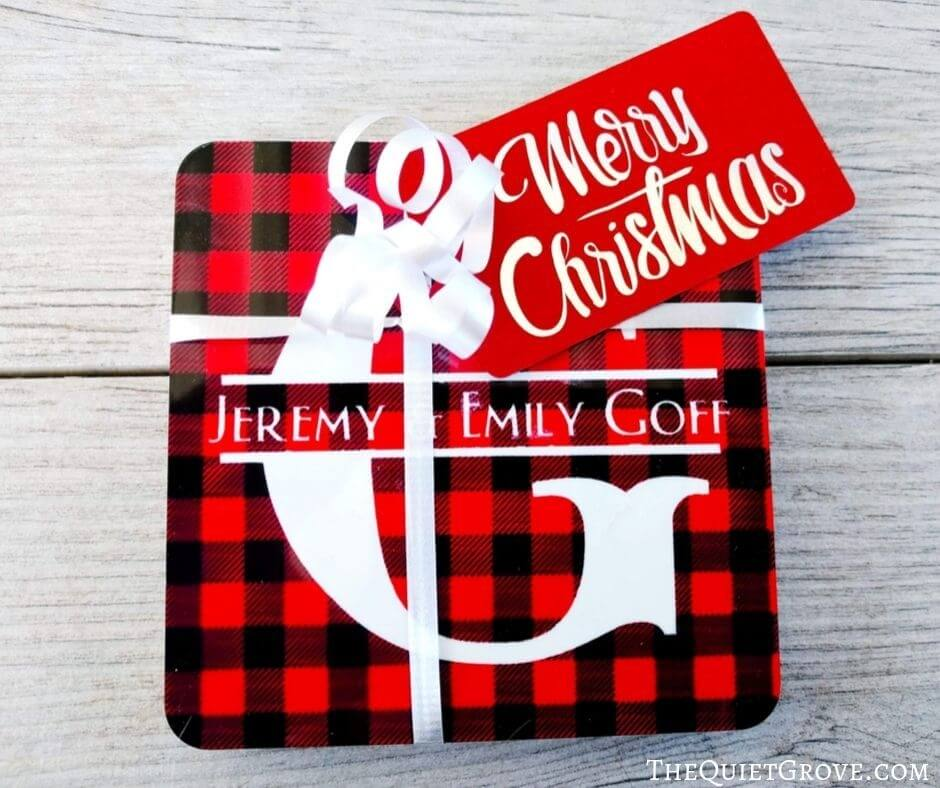 Christmas coasters with monogram