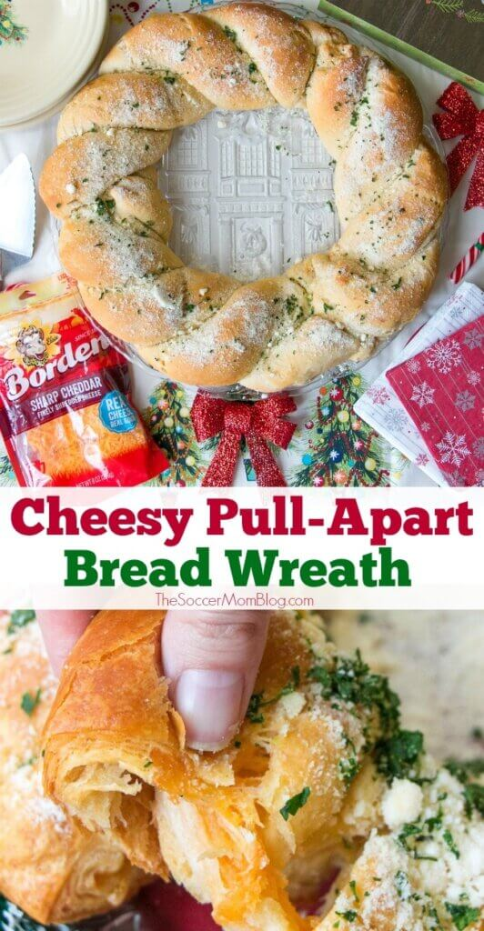 A festive holiday appetizer that's bursting with warm cheesy goodness, this Cheesy Pull Apart Bread Wreath will be the hit of every holiday party!