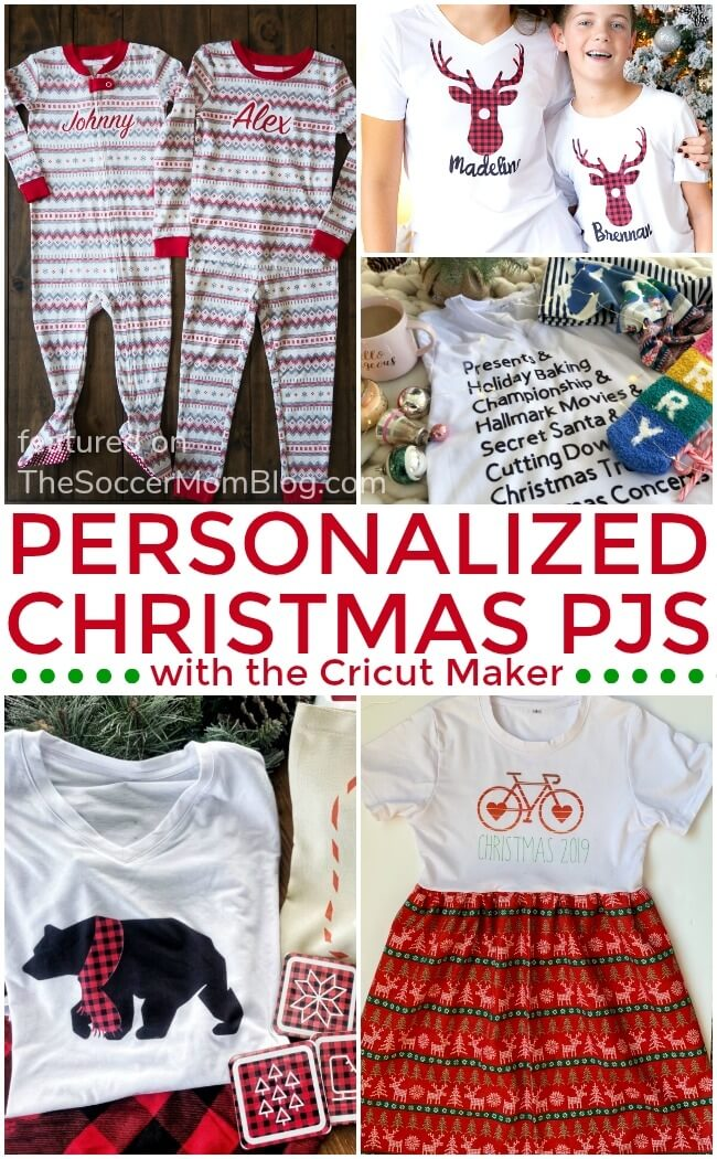 How to make matching Christmas pajamas with the Cricut Maker - click for free tutorials!
