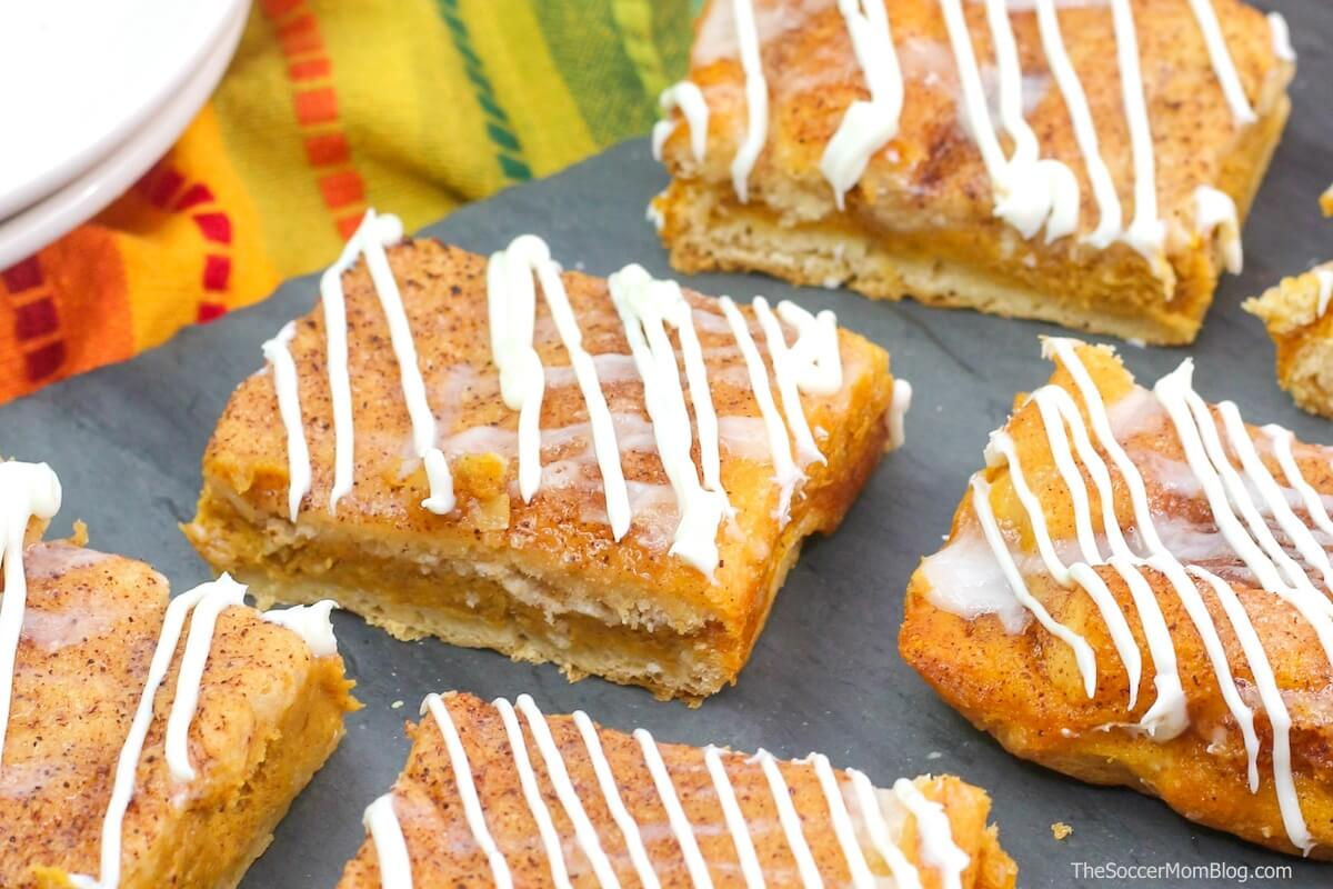close up of pumpkin cheesecake bars