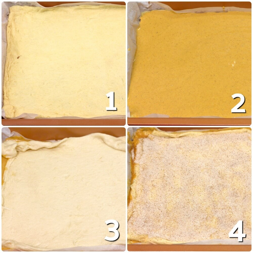 collage showing how to make pumpkin cheesecake bars