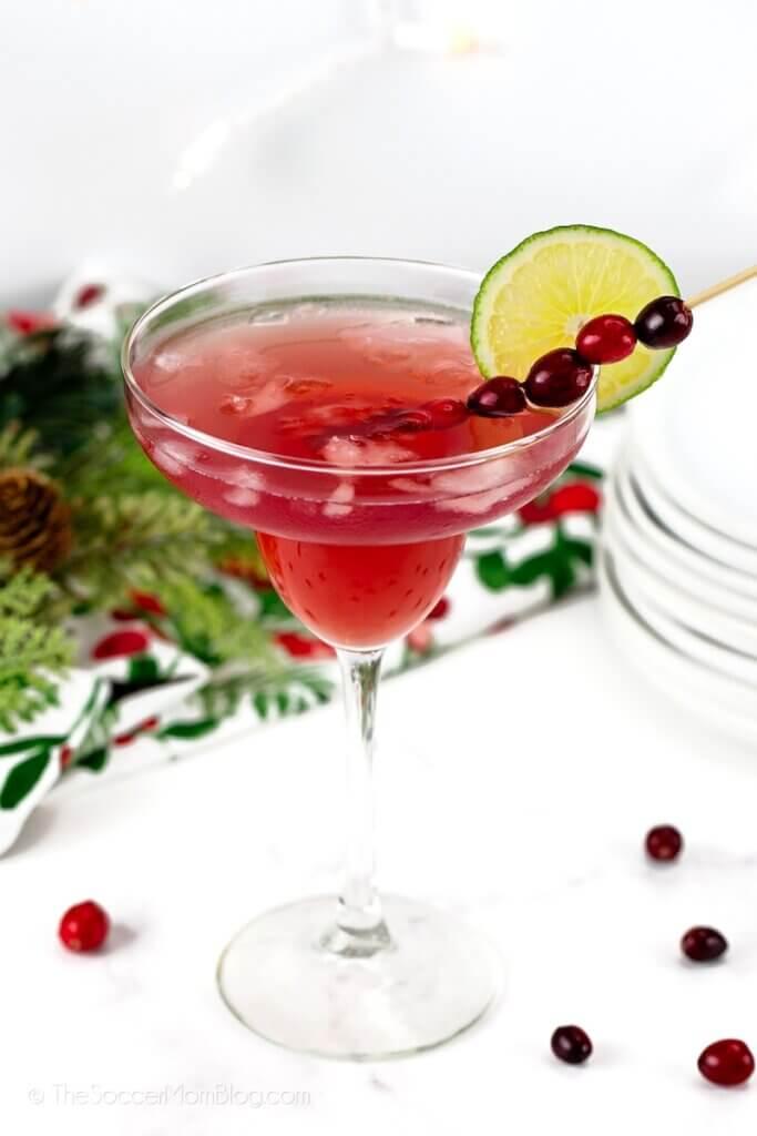 cranberry margarita in tall glass