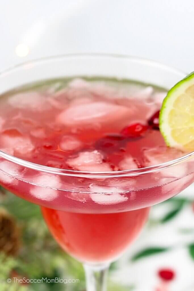 Christmas margarita with cranberry and lime