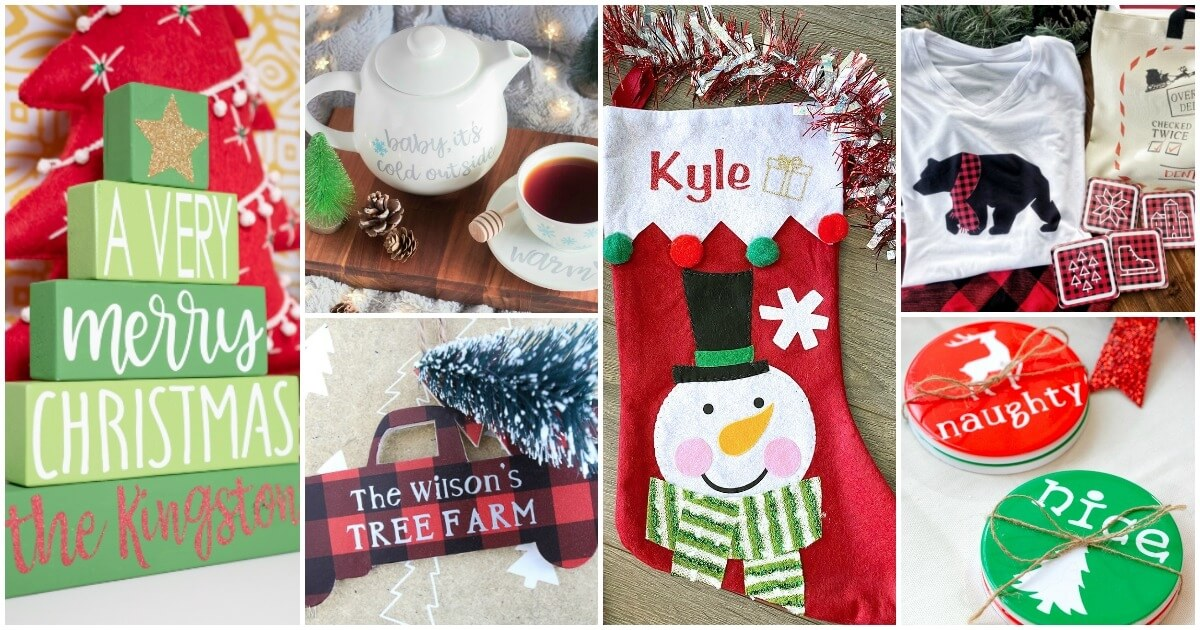 An inspiring collection of the best Cricut Christmas crafts! Personalized ornaments, stockings, pajamas, and more Cricut Christmas craft ideas!