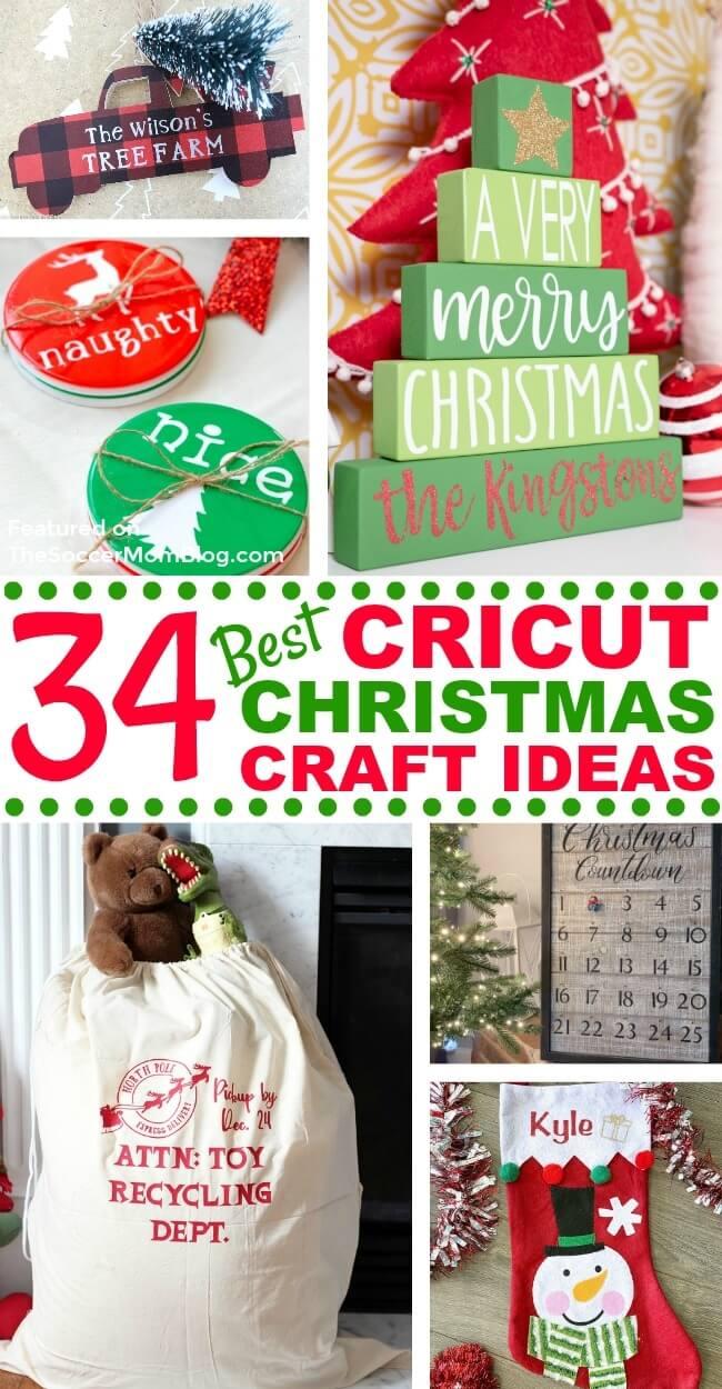 Eine inspirierende Sammlung der besten Cricut-Weihnachtshandwerke der talentiertesten DIY-Blogger im Internet!  Erfahren Sie, wie Sie mit diesen brillanten Cricut Christmas-Bastelideen personalisierte Ornamente, Strümpfe, Pyjamas und mehr herstellen können!