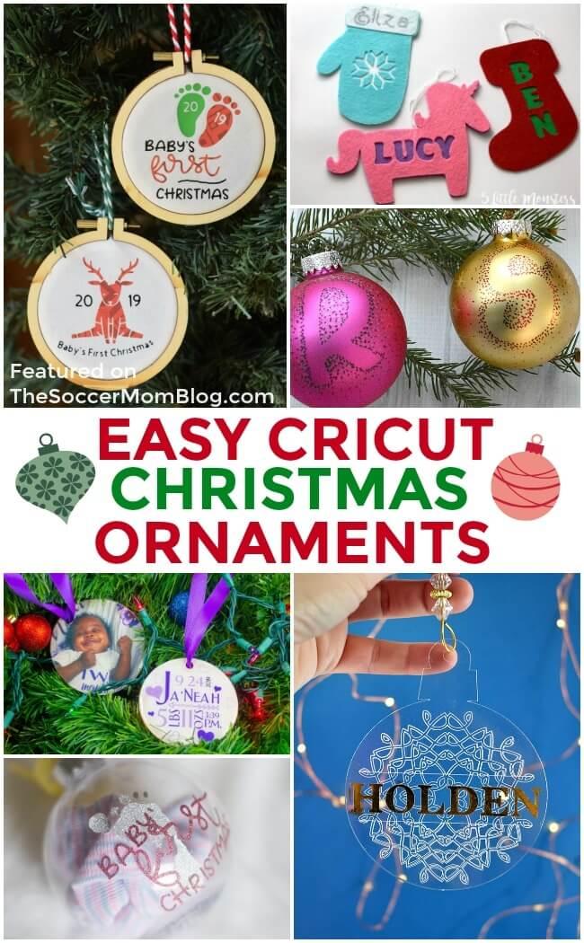 Lots of easy Christmas ornament ideas using the Cricut Maker