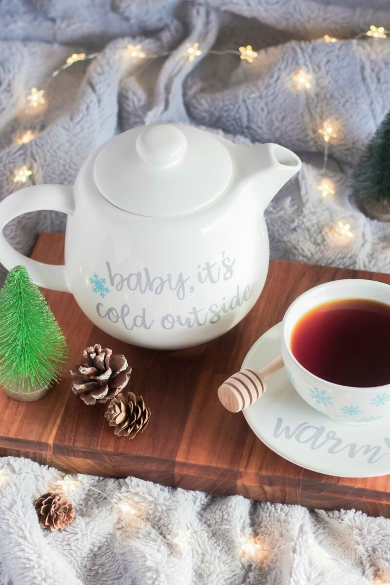 baby it's cold outside DIY teapot with Cricut EasyPress