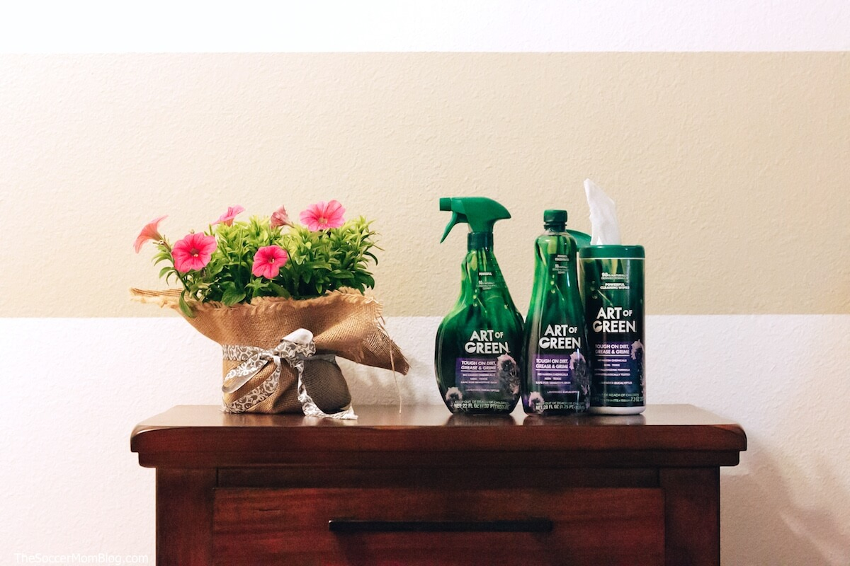 Art of Green cleaning products on wooden dresser