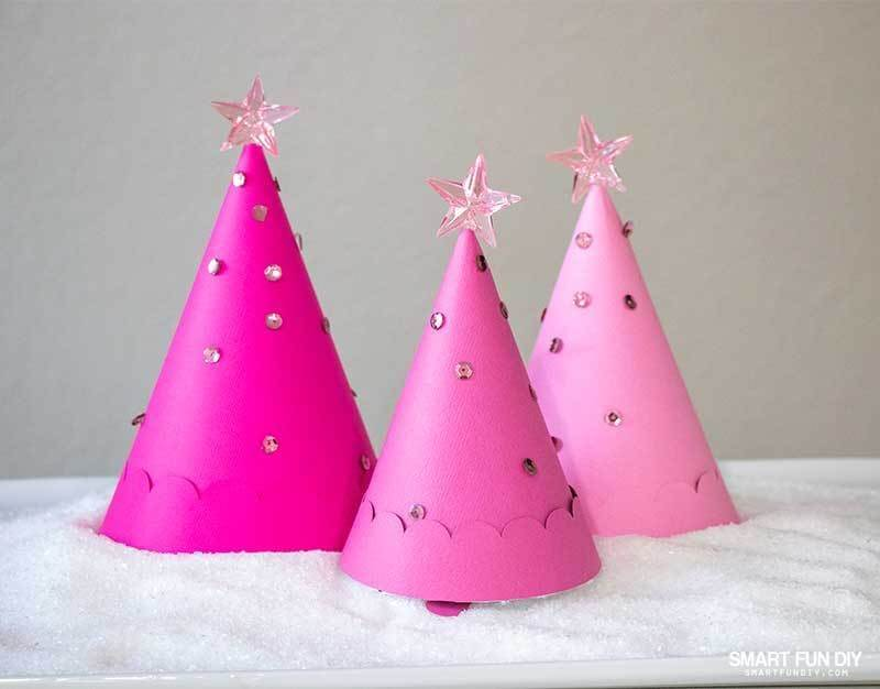 pink paper Christmas tree treat holders