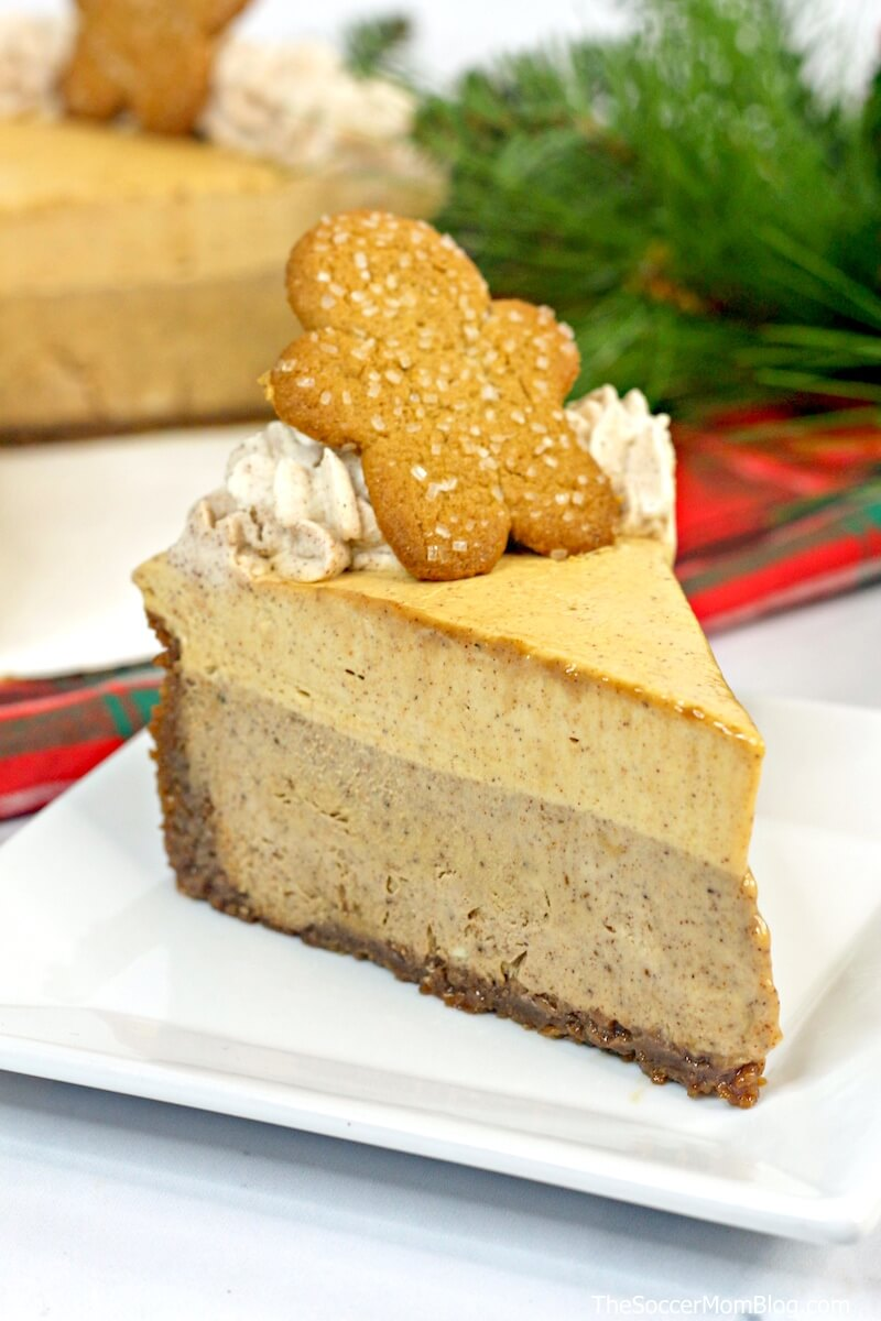 This fun and festive Gingerbread Cheesecake is the perfect dessert for the gingerbread lovers in your family!