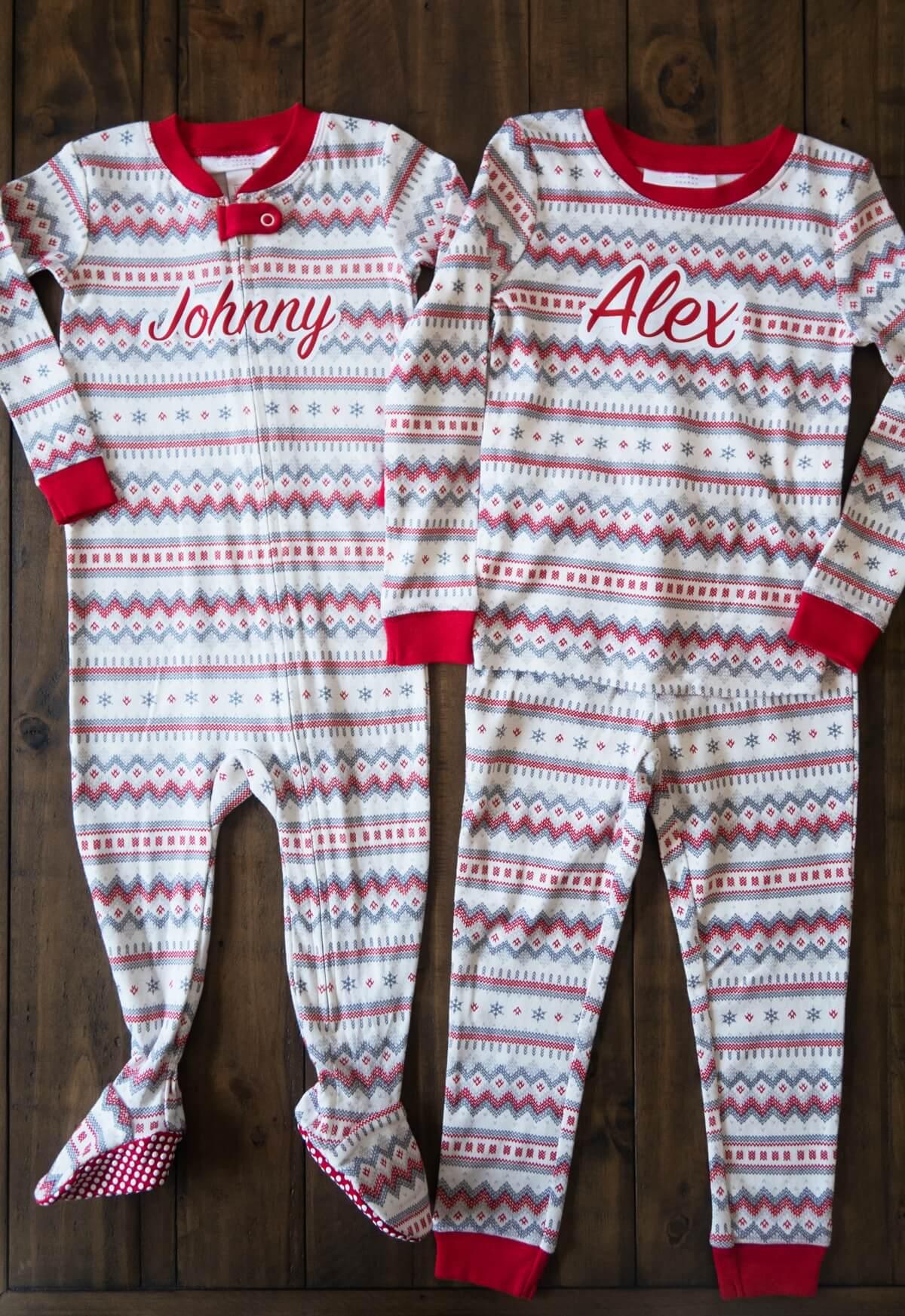 Kids Christmas pajamas DIY