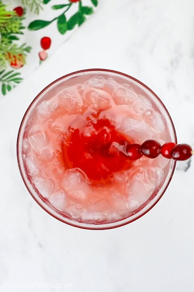 top down view of cranberry Christmas margarita