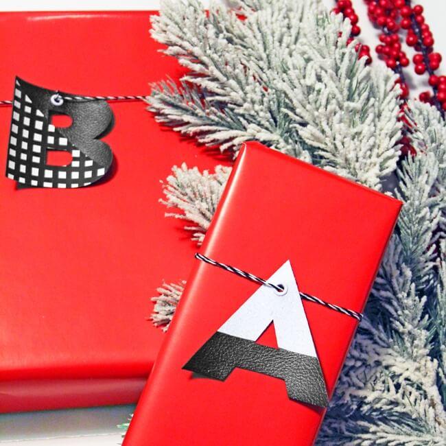 monogram Cricut gift tags