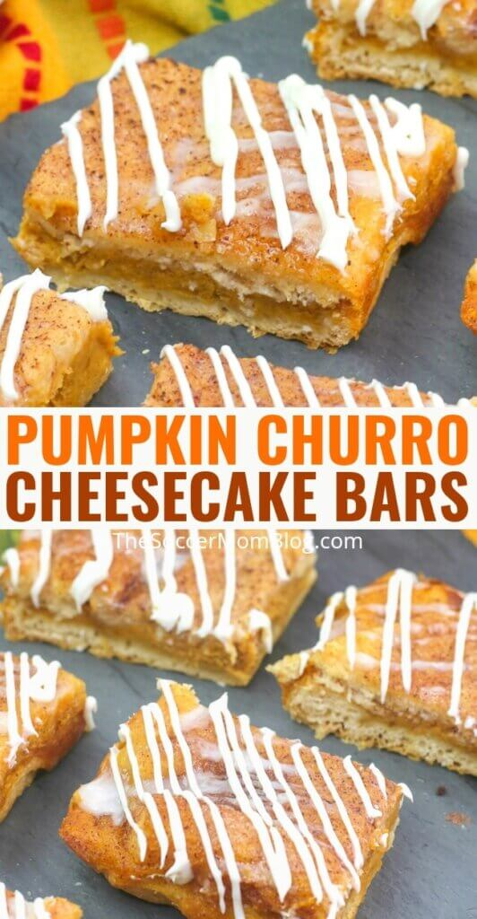 With a crunchy layer of sweet cinnamon sugar topping, our Churro Pumpkin Cheesecake Bars take pumpkin cheesecake to the next level! An easy and delicious fall recipe that is sure to be a hit!