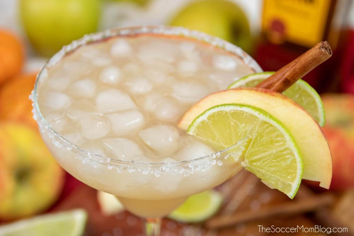 close up of a fall themed margarita with apple and cinnamon