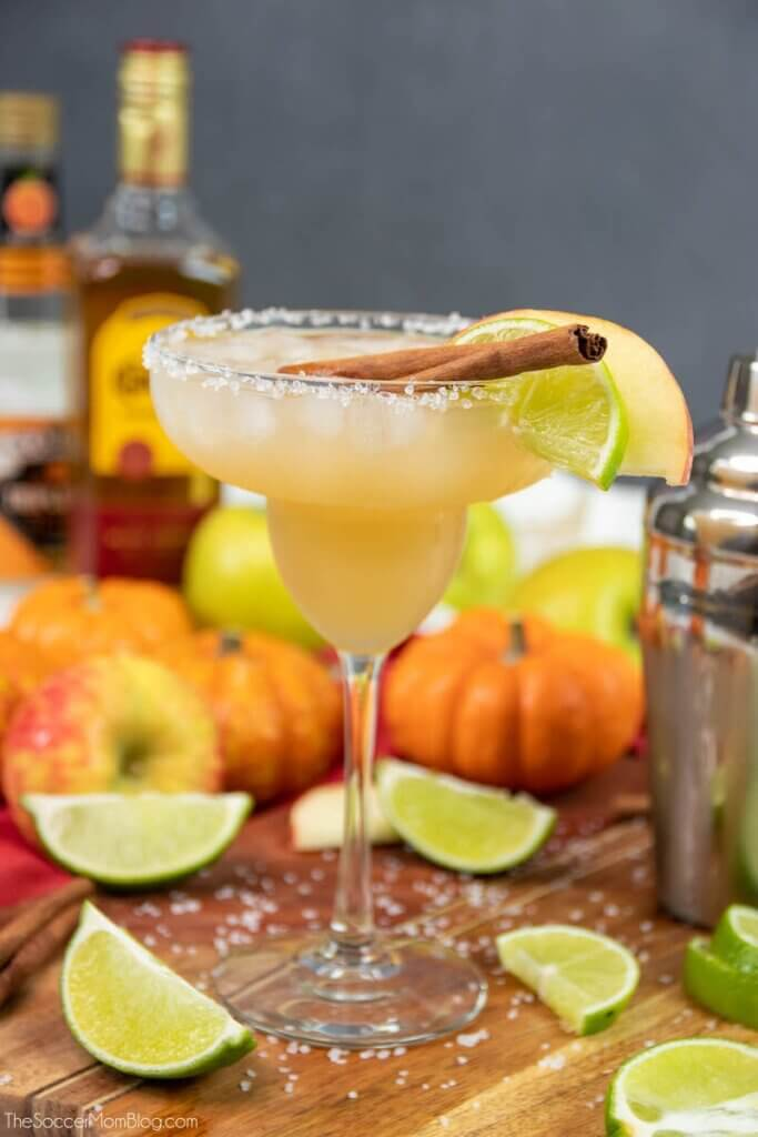 gorgeous fall colored Thanksgiving Margarita in tall champagne coupe