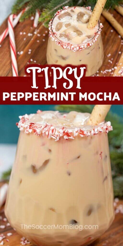 Pfefferminz-Mokka-Cocktail mit Pfefferminzrand