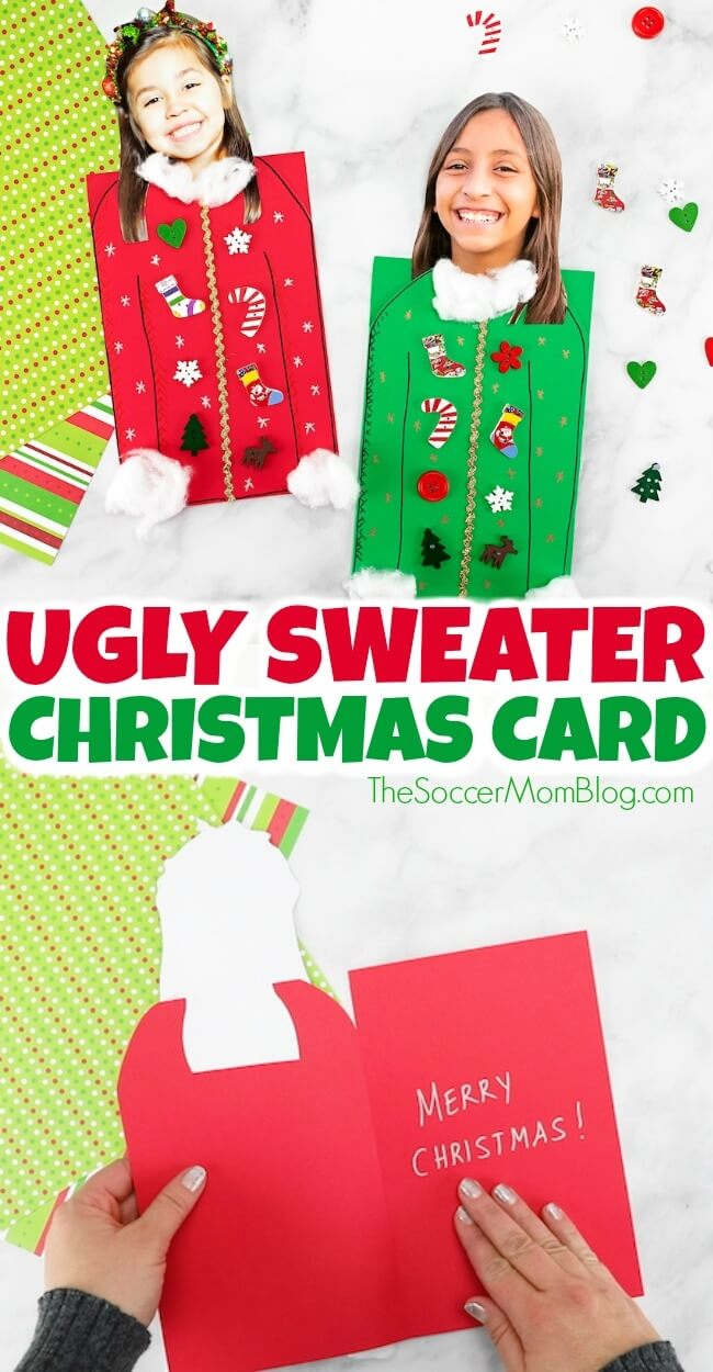 "It may be called an ""ugly sweater"" but this Ugly Sweater Christmas Card is one of the CUTEST kid-made Christmas card ideas ever! And it's super easy to make!"