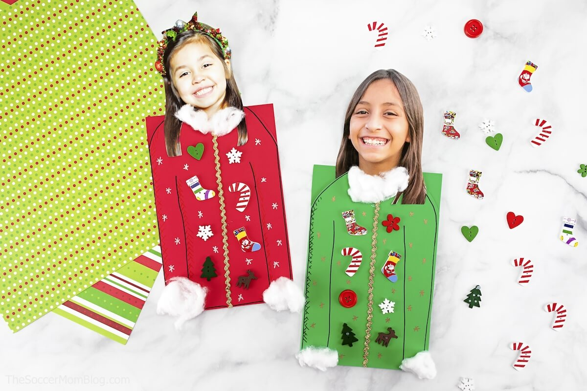 "It may be called ""ugly"" but this Ugly Sweater Christmas Card is one of the CUTEST kid-made Christmas card ideas ever! And it's super easy to make!"