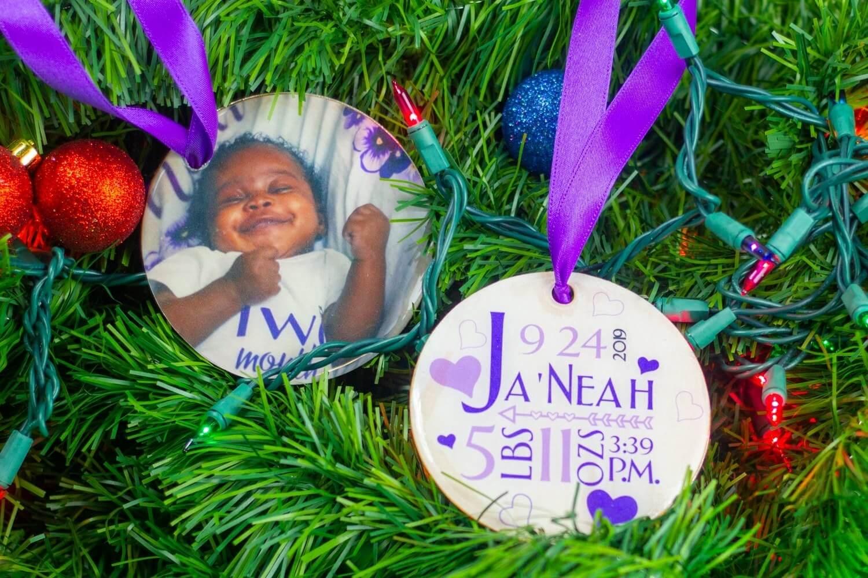 Cricut Christmas crafts - baby ornament