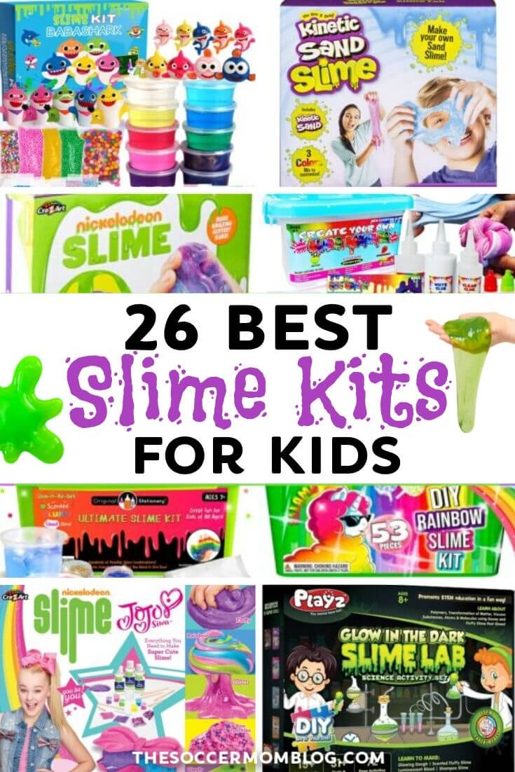 collage of different slime kits for kids