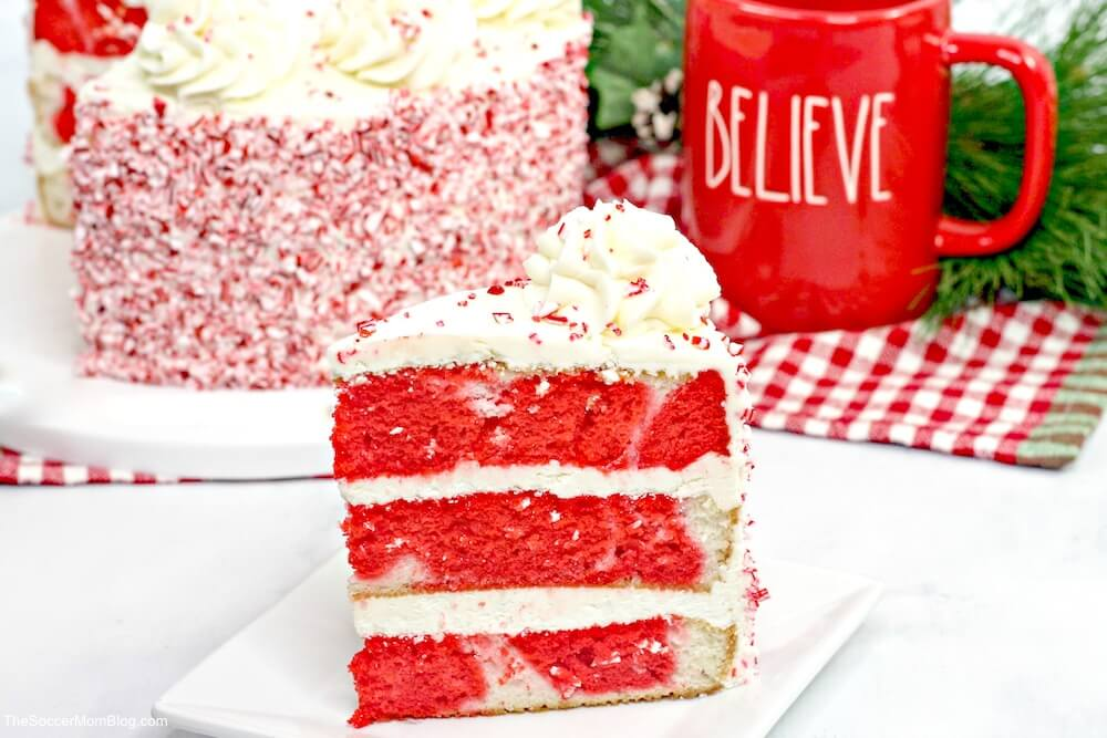 peppermint cake - red and white layer cake with buttercream frosting