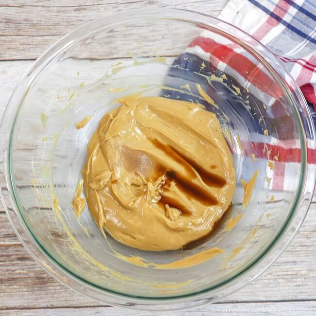 creamy peanut butter icing inn mixing bowl