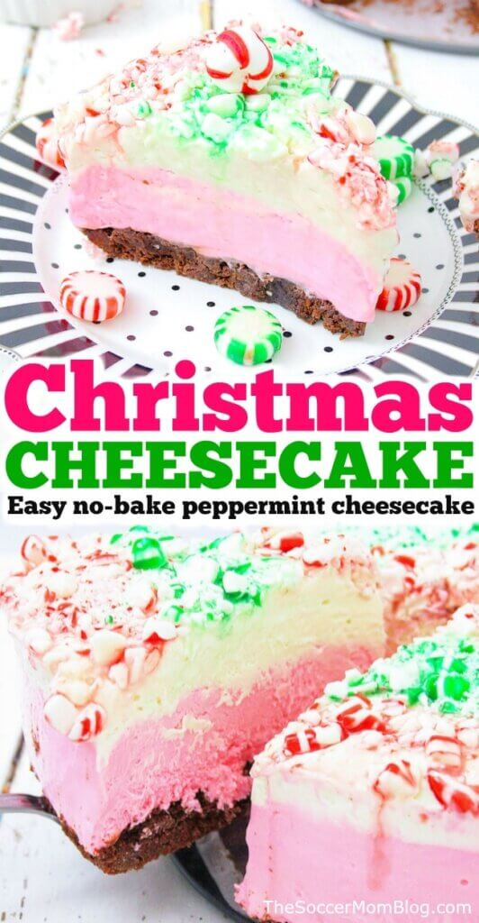 This red and green Christmas Cheesecake is a fun, festive, and delicious holiday dessert! This no bake peppermint cheesecake is both gorgeous and easy!