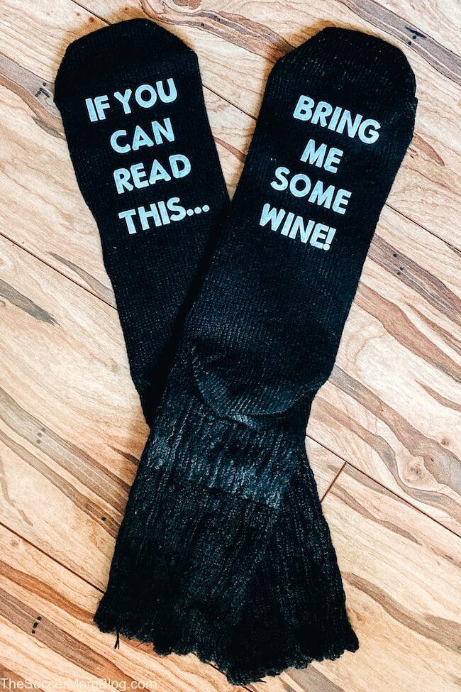 Cricut bring me some wine socks