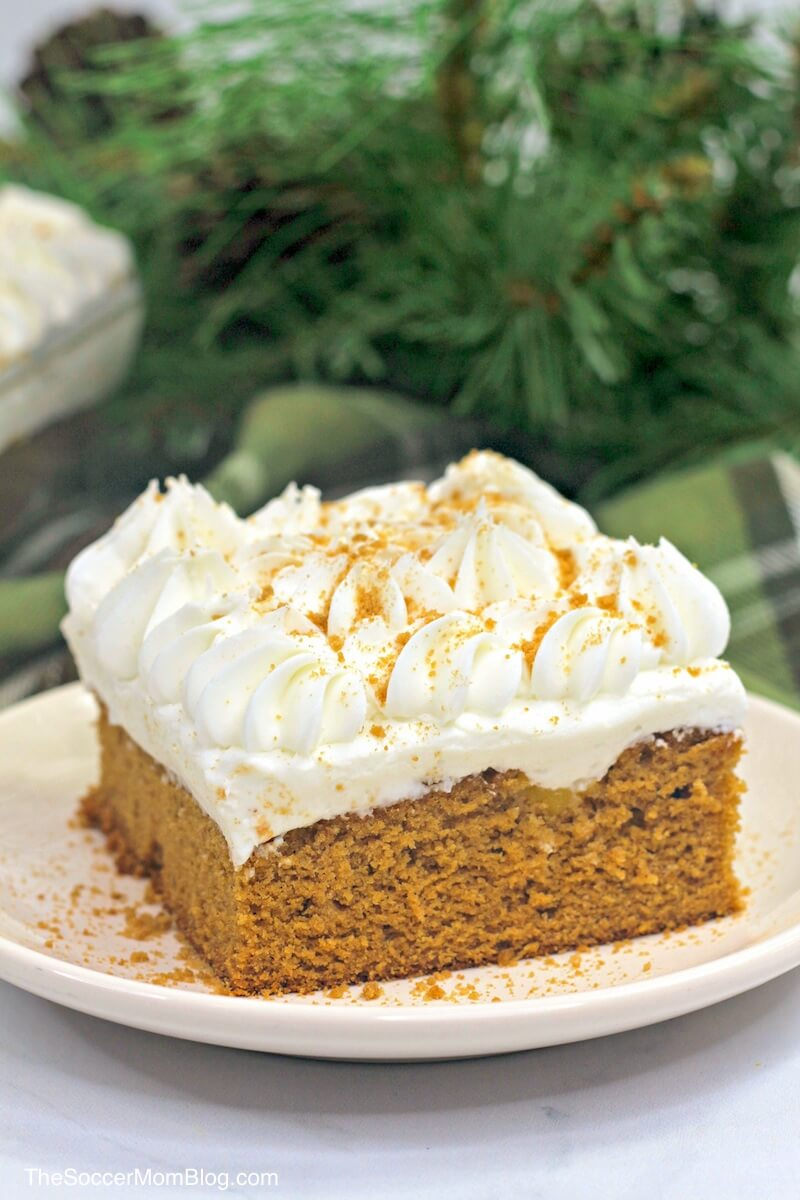 This moist and delicious gingerbread poke cake makes an amazing Christmas dessert! Every bite is a tantalizing blend of holiday spices and sweet creamy filling. It's irresistible and SO easy to make!