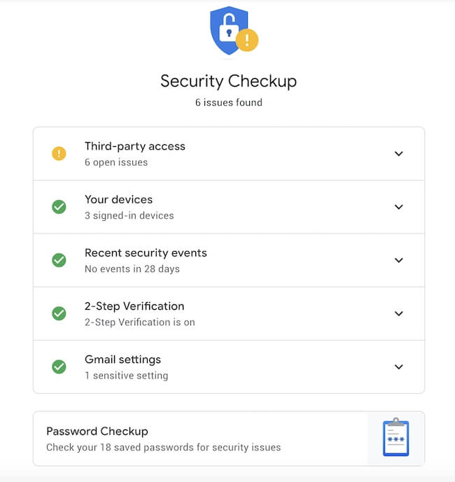 Google Security Checkup screenshot