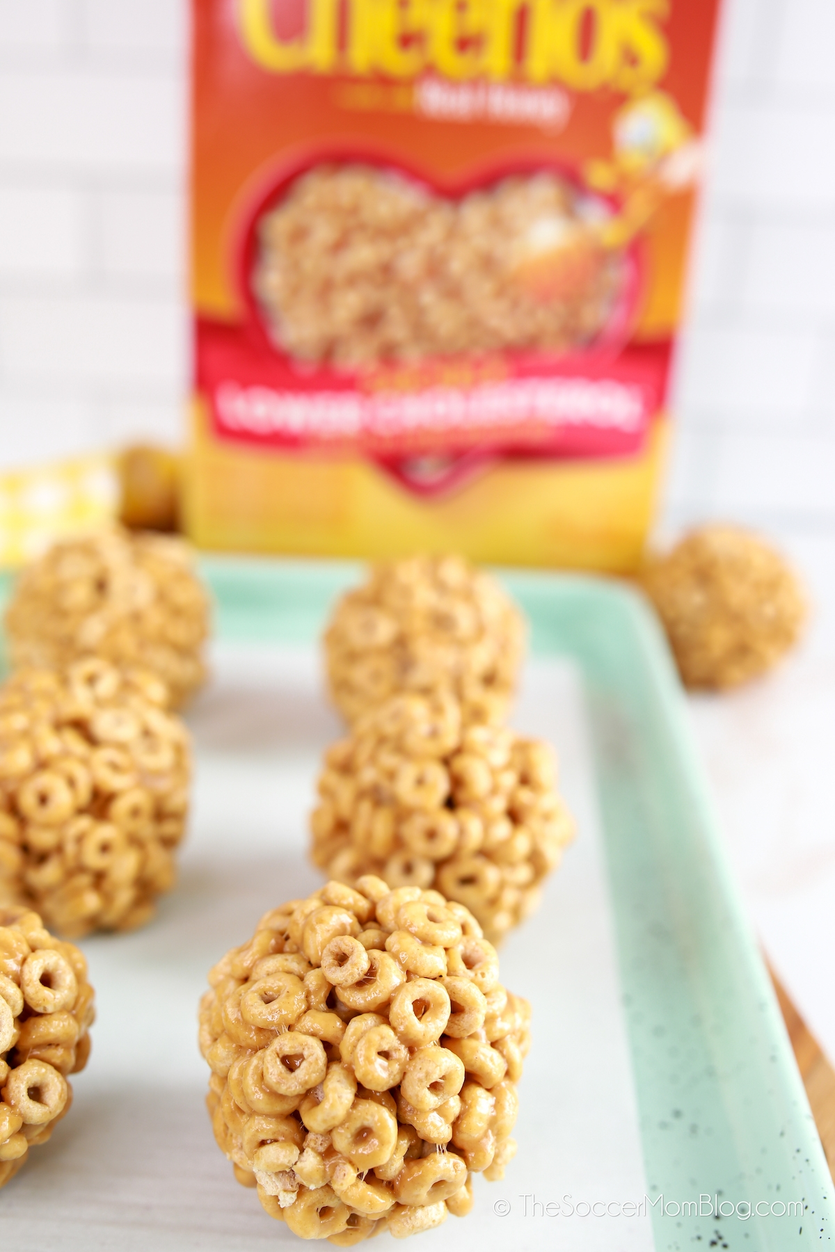 cereal peanut butter treats made with Honey Nut Cheerios