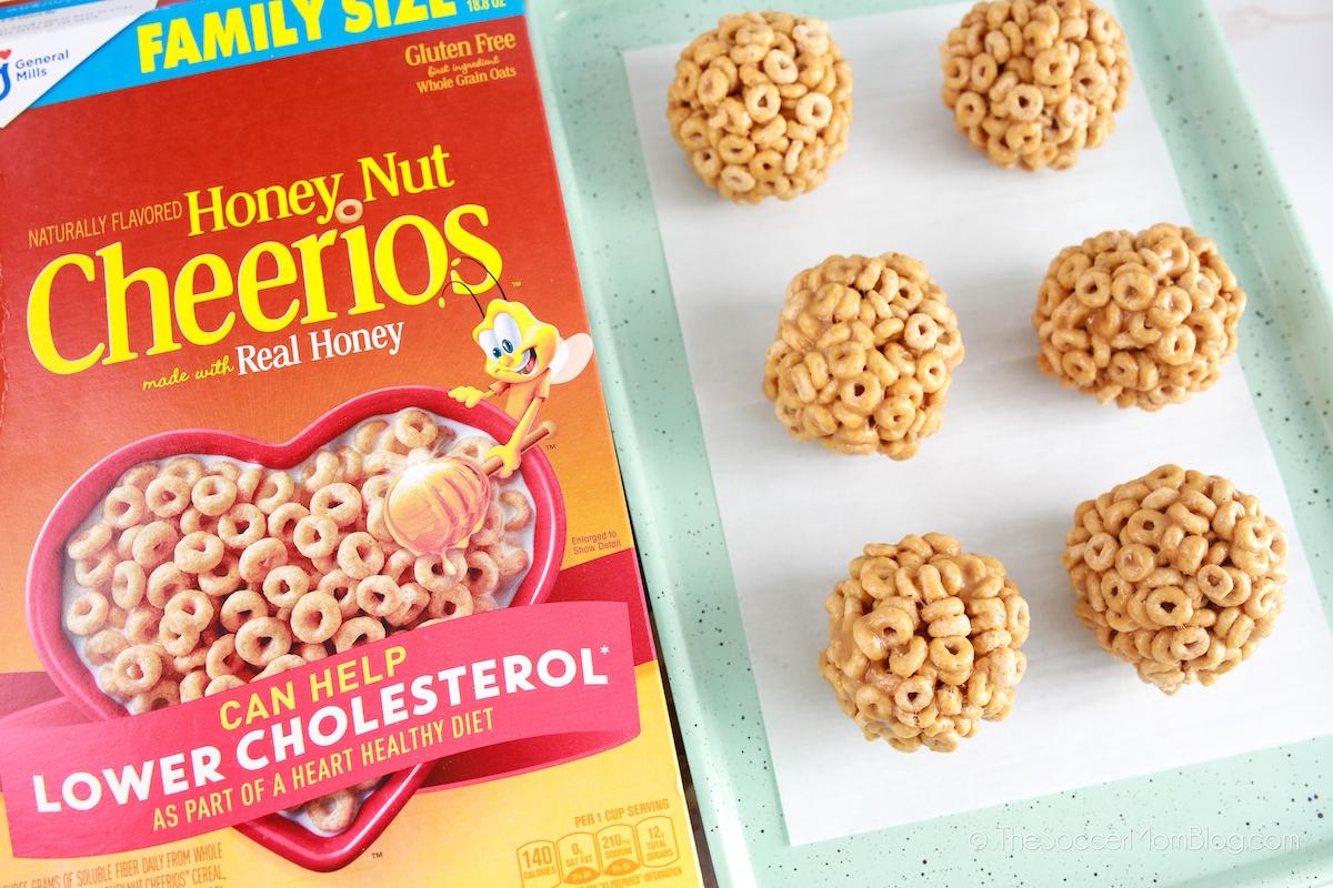 marshmallow cereal treats made with Honey Nut Cheerios