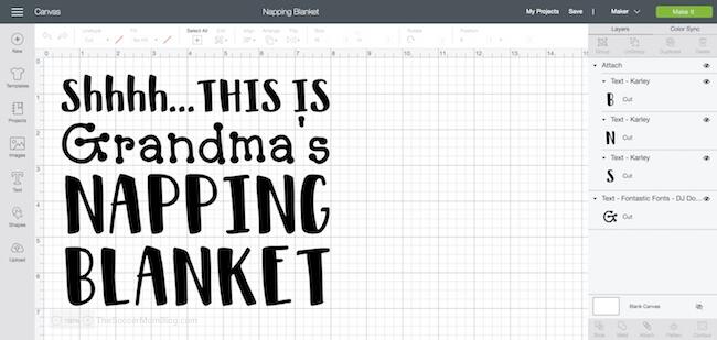 screenshot of nap blanket cricut project