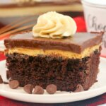 This Chocolate Peanut ButterTexas Sheet Cakeis a chocolate and peanut butter lover's dream come true! Fluffy chocolate sheet cake topped with rich peanut butter cream and chocolate icing — it's perfection in every bite! If you love Texas sheet cake and you love peanut butter then this is a must try recipe!